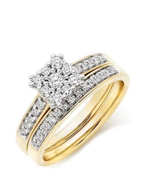 beaverbrooks-18ct-gold-diamond-cluster-ring-bridal-set