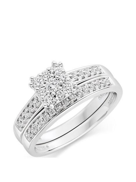 beaverbrooks-18ct-white-gold-diamond-cluster-ring-bridal-set