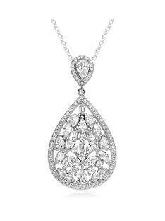 beaverbrooks-silver-cubic-zirconia-cluster-pendant