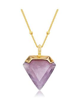 beaverbrooks-18ct-gold-plated-silver-amethyst-pendant