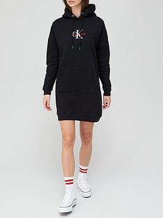 calvin-klein-jeans-monogram-hoodie-dress-black