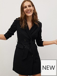 mango-double-breasted-blazer-dress-black