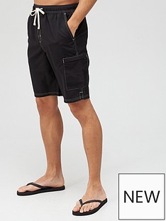 very-man-contrast-stitch-longer-swim-shorts-black