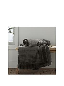 Product photograph showing Catherine Lansfield Velvet Amp Faux Fur Throw