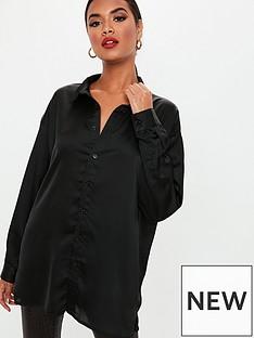 missguided-black-satin-shirt