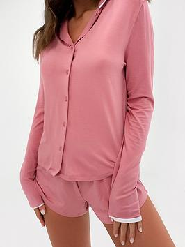missguided-missguided-soft-touch-piping-shirt-short-pj-set