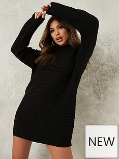 missguided-missguided-high-neck-ribbed-dress-black