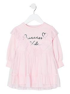 river-island-mini-girls-mesh-overlay-sweat-dress--nbsppink