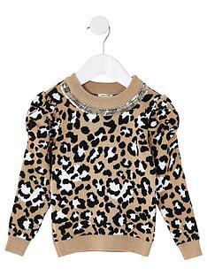 river-island-mini-mini-girls-puff-sleeve-leaoprd-knitted-jumper-beige
