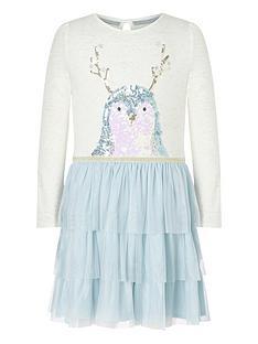 monsoon-girls-christmas-disco-penguin-dress-blue