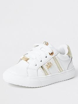river-island-mini-mini-girls-pearl-trim-trainers--nbspwhite