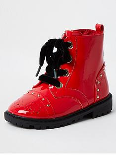 river-island-mini-mini-girls-patent-chunky-boot--nbspred