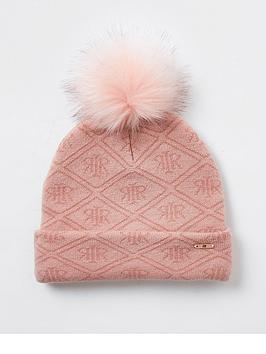 River Island Girls Monogram Knitted Beanie Hat-Pink, Pink