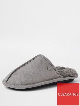 river-island-boys-monogram-mule-slippers-grey