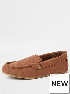 river-island-boys-monogram-moccasin-slippers-brown