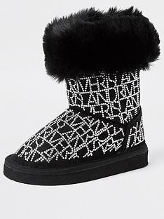 river-island-mini-girls-faux-fur-embellished-boots--nbspblack