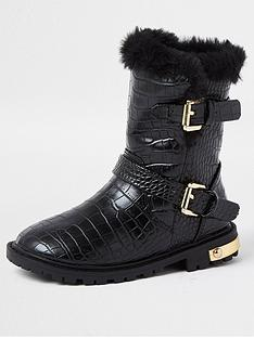 river-island-mini-mini-girls-croc-chunky-boots-black