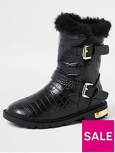 river-island-mini-mini-girls-croc-chunky-boots-black