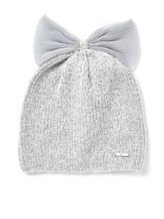 river-island-girls-tulle-bow-knitted-beanie-hat--nbspgrey