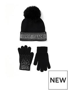 river-island-girls-embelished-pom-beanie-and-gloves-set
