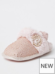 river-island-mini-mini-girls-diamante-glam-slippers-pink