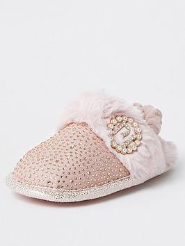 river-island-mini-mini-girls-diamante-glam-slippers-pink