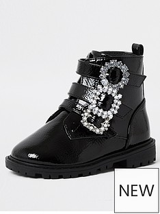river-island-mini-mini-girls-diamante-buckle-patent-boots--nbspblack