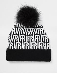 river-island-kids-monogram-knitted-pom-beanie-black