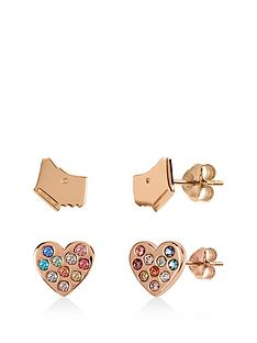 radley-rose-gold-plated-sterling-silver-dog-and-rainbow-crystal-heart-stud-ladies-earrings-set
