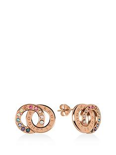 radley-radley-rose-gold-plated-sterling-silver-rainbow-crystal-double-hoop-stud-ladies-earrings