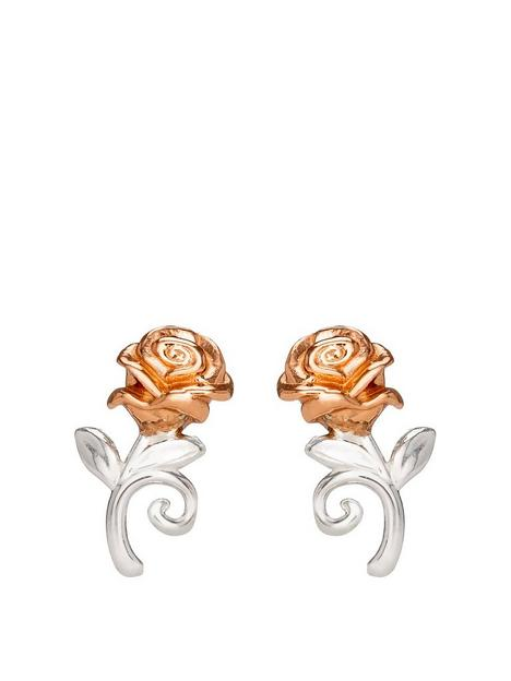disney-disney-beauty-and-the-beast-rose-gold-plated-sterling-silver-rose-stud-earrings