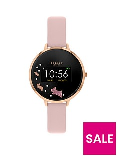 radley-radley-series-3-mini-display-black-and-rose-gold-dog-dial-pink-strap-ladies-smart-watch