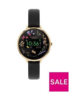 radley-radley-series-3-mini-display-black-and-gold-floral-dial-black-strap-ladies-smart-watch