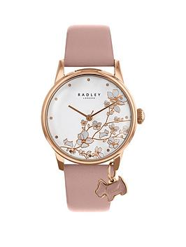 radley-radley-botanical-floral-white-and-rose-gold-dog-charm-dial-pink-leather-strap-ladies-watch