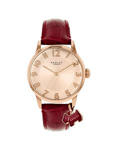 radley-radley-liverpool-street-blush-sunray-dog-charm-dial-dark-red-leather-strap-ladies-watch
