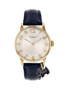 radley-radley-liverpool-street-silver-sunray-and-gold-detail-dog-charm-dial-blue-leather-strap-ladies-watch