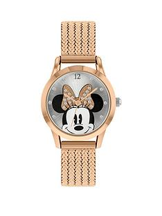 disney-minnie-mouse-silver-and-rose-gold-crystal-set-bow-dial-rose-gold-stainless-steel-mesh-strap-watch