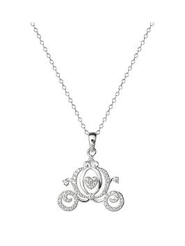 disney princess cinderella sterling silver crystal carriage pendant necklace, one colour, women