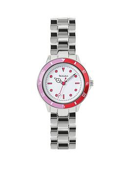 Tikkers White And Pink Detail Dial Stainless Steel Bracelet Kids Watch, One Colour