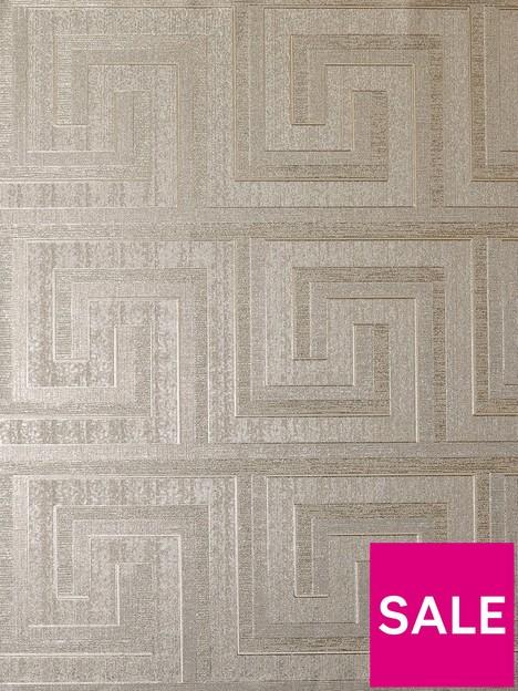 arthouse-greek-key-foil-wallpaper-ndash-champagne