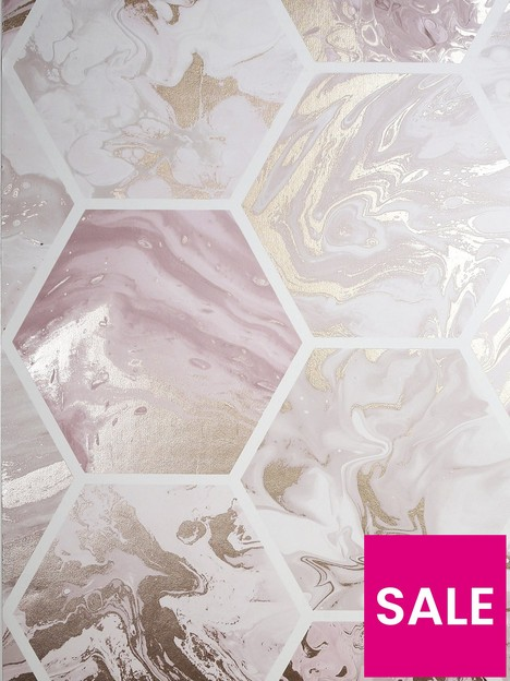 arthouse-marbled-hexagon-pink-rose-gold-wallpaper