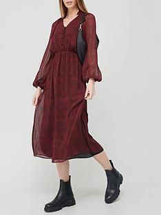 v-by-very-button-down-ruched-waist-midi-dress-black