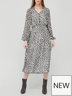 v-by-very-button-down-ruched-waist-midi-dress-mono-print