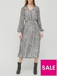 v-by-very-button-down-ruched-waist-midi-dress-mono-print