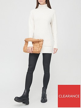v-by-very-roll-neck-pocket-front-tunic-cream