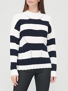 v-by-very-mini-scallop-detail-stripe-jumper-navystripe