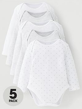 mini-v-by-very-baby-unisex-5-pack-long-sleeve-essentials-grey-mix-bodysuits-grey