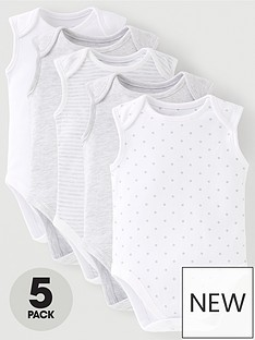 mini-v-by-very-baby-unisex-5-pack-sleeveless-essentails-grey-mix-bodysuits-grey