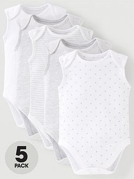 mini-v-by-very-baby-unisex-5-pack-sleeveless-essentials-grey-mix-bodysuits-grey