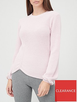 v-by-very-crew-neck-ruched-detail-jumper-blush
